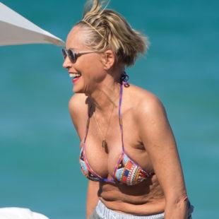 Sharon Stone Sunbathing In Sexy Bikini On The Beach
