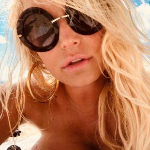 Jessica Simpson Sunbathing Topless And Thong Bikini