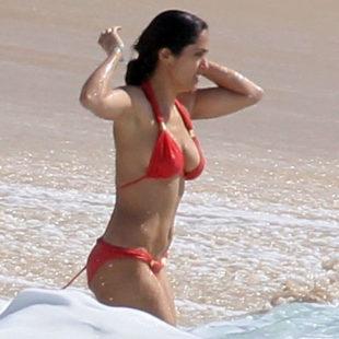 Salma Hayek Paparazzi Red Bikini Shots