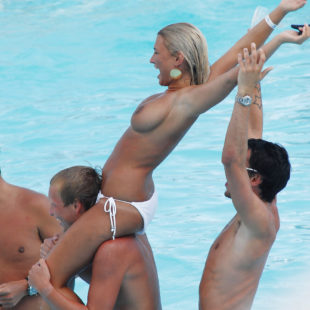 Billie Faiers Shows Off Her Nude Breasts In A Pool