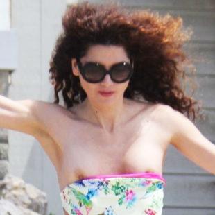 Blanca Blanco Nipple Slip And Thong Bikini On A Beach