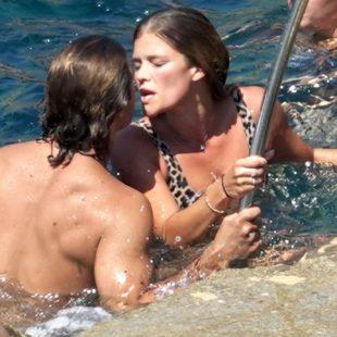 Nina Agdal Sunbathes in leopard bikini with her boyfriend