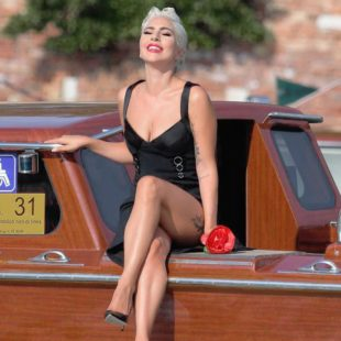 Lady Gaga Leggy And Sexy On A Boats In Venice