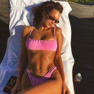 Bella Hadid Paparazzi Pink Thong Bikini Photos