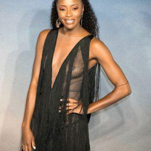 AJ Odudu Displays Great Boobs Through Sexy Dress