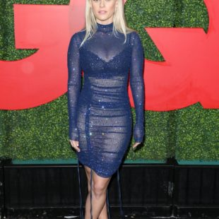 Alice Eve Flashing Her Pussy Through Transparent Dress