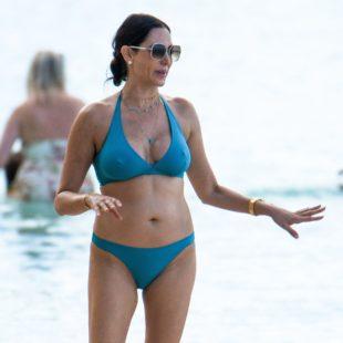 Lauren Silverman Blue Bikini Beach Shots