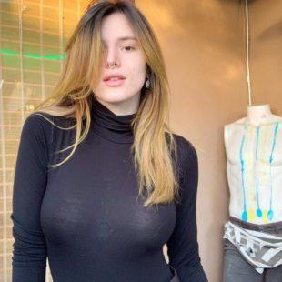 Bella Thorne Flashing Her Pierced Nipples Through Dress