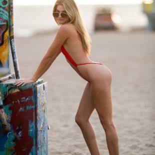 Celebrity Model Rachel McCord Posing In Hot Red Swimsuit