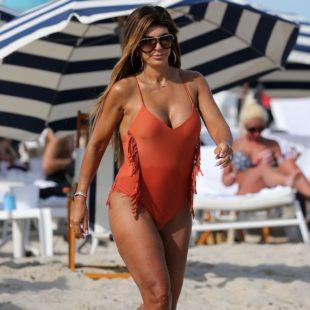 Real Housewives Of New Jersey Star Teresa Giudice Orange Bikini Beach Photos