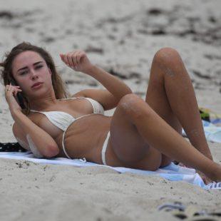 Kimberley Garner Wet Thong Bikini & Cute Cameltoe On A Beach