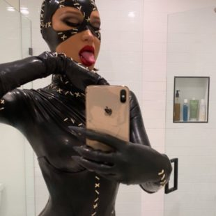 Bella Hadid Doing Hot Selfies In The Catwoman Outfit